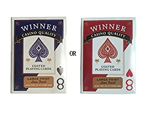WINNER Wide-Size Jumbo/Regular Index Casino Quality Black Core Linen Finish Coated Poker Playing Cards (COLORS MAY VARY for 1 PACK, blue or red)&Pack 4 (2 Red and 2 Blue)&Pack 12 (6 Red and 6 Blue)