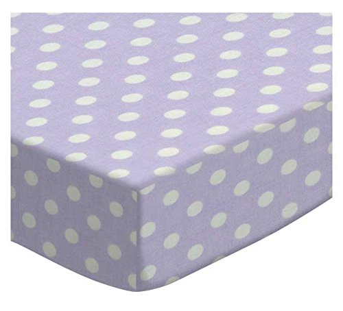 SheetWorld Fitted Cradle Sheet - Pastel Lavender Polka Dots Woven - Made In USA