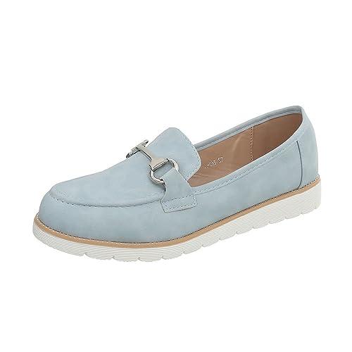 Ital-Design Zapatos Para Mujer Mocasines Plano Mocasines Azul Tamaño 38