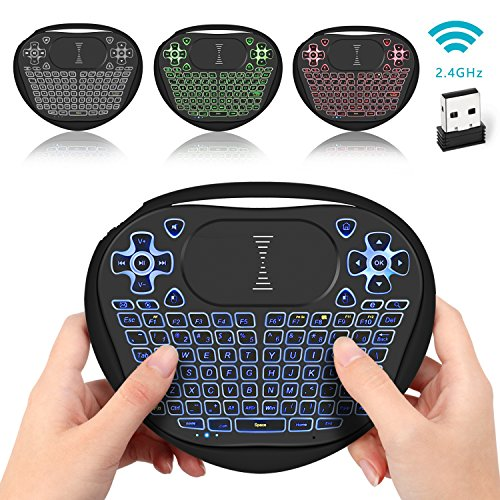 Backlit Mini Keyboard, Jelly Comb USB 2.4G Mini Wireless Keyboard with Mouse Touchpad Rechargeable Combos for PC, Pad, Google Android TV Box and More
