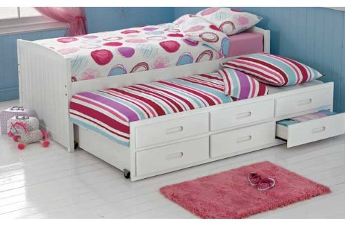 Classic Cabin and Trundle Bed Frame   White.: Amazon.co.uk
