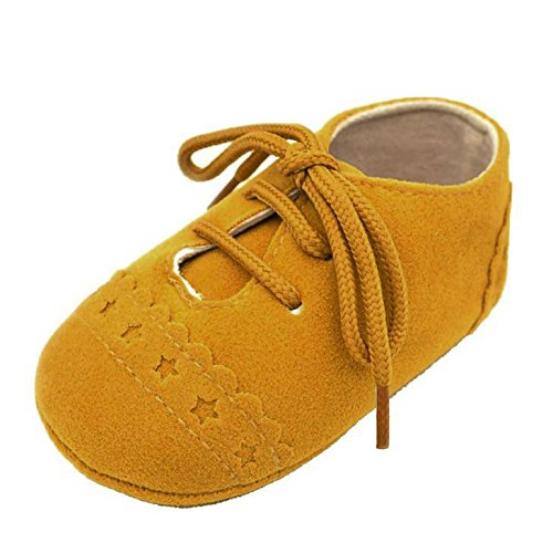 Landscap Baby Toddler Boys and Girls Shoes Sneaker Anti-Slip Soft Sole Lace Up Shoes (Yellow,12)