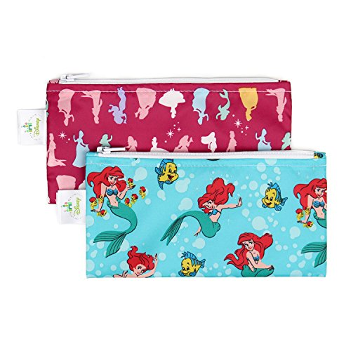 Bumkins Disney Baby Reusable Snack Bag Small 2 Pack, Princess (Ariel/Princess Silhouette)
