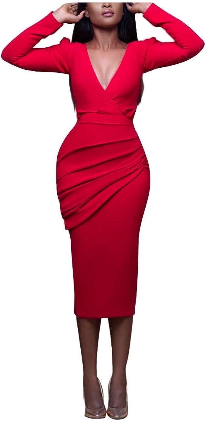 Shenye Damen Kleider Slim Volltonfarbe V-Ausschnitt Plissee Hohe