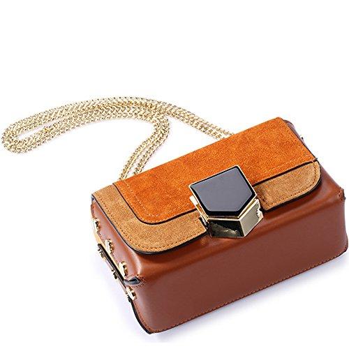 SHELI - Bolso estilo cartera de Piel Vuelta para mujer marrón marrón Small