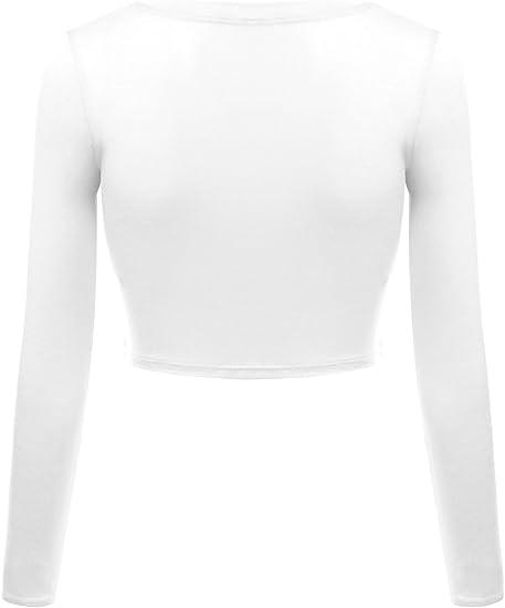 Abbandono tuttavia falciare  Basic White Crop Tops for Women Scoop Neck Long Sleeve Crop Top Shirt - USA  at Amazon Women's Clothing store