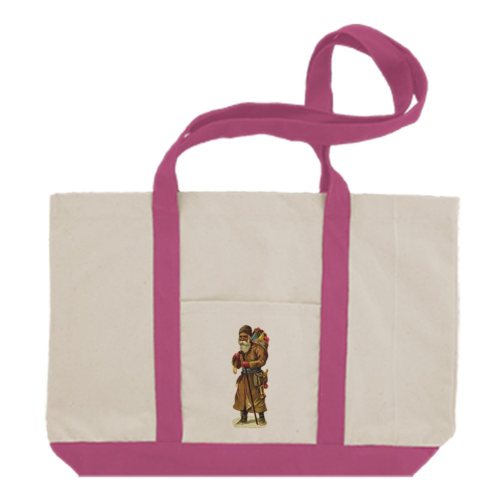 Cotton Canvas Boat Tote Bag Santa In Brown Coat Holidays By Style In Print | Hot Pink