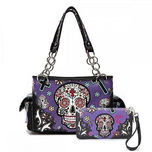 Cowgirl Trendy Western Concealed Carry Cross Sugar Skull Art Purse Handbag Shoulder Bag Wallet Set (Purple)
