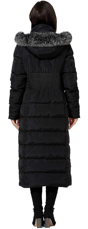 Amazon.com: Molodo - Abrigo largo con capucha de piel para ...