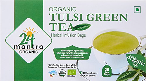 24 Mantara 24 Mantra Organic Tulsi Green Tea - 25 Bags,, 3.04 Oz () (Green Tea Mantra)