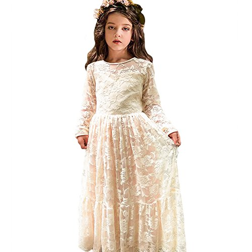 CQDY Lace Flower Girl Dress Long Sleeves Princess Communion Dresses for 2-13T (Champagne, 10-11) for $<!--$24.99-->