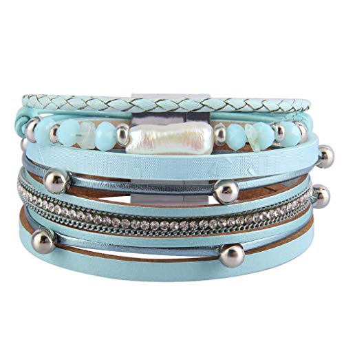 Bfiyi Leather Cuff Bracelets Casual Wrap Bangle Handmade Wristbands Wrist Braided Magnetic Clasp Baroque Pearl Bracelet for Women, Teen Girls, Wife