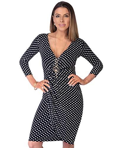 Viscose Jersey 3/4 Sleeve Dress - Krisp 3/4 Polka Dress (Size UK 12/US 8)(6487-BLK-12)