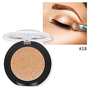Single Baked Eyeshadow 12 Color Classy Intensity Shimmer Pearl Eye Shadow Highlighter Pigment Diamond Glitter Makeup Powder (18#)