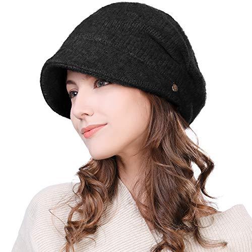 (Womens Wool Visor Beanie Crochet Knit Newsboy Beret Cap Cold Weather Winter Hat Ladies Fashion Fleece Black)