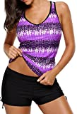 Aleumdr Womens Summer V Neck Color Block Printed Racerback Patchwork Padded Tankini Swim Top No Bottom Plus XL Size Purple