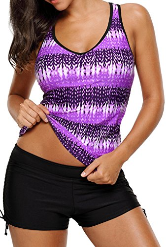 Aleumdr Womens Summer V Neck Color Block Printed Racerback Patchwork Padded Tankini Swim Top No Bottom Large Size Purple