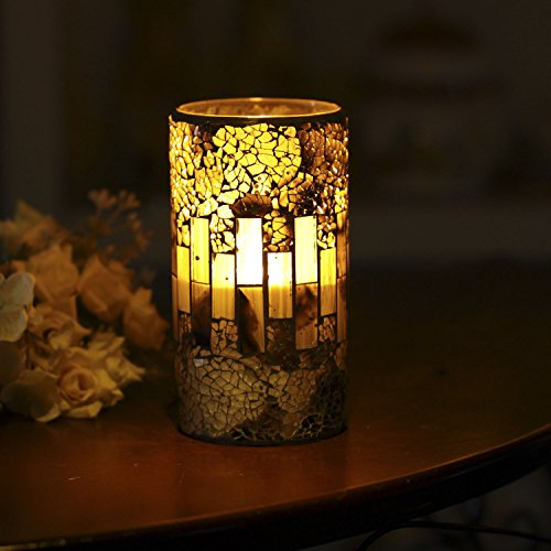 GiveU Crack Mosaic Glass Flameless Brown Pillar Led Wax Candle with Timer, 3X6, for Home Decor, Weddings, Party and Awesome Gift