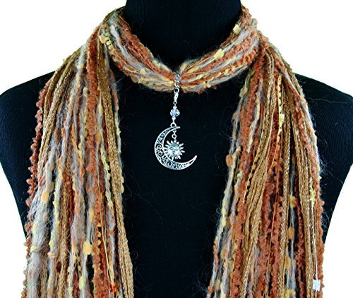 Crescent Moon and Sun Pendant Scarf Necklace ~ Multiple Scarf Colors Available