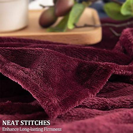 Mantas de Franela 130x150cm Súper Suaves Esponjosas para El Sofá Cama Colcha de Microfibra,tamaño Viaje/Individual, Rojo Vino