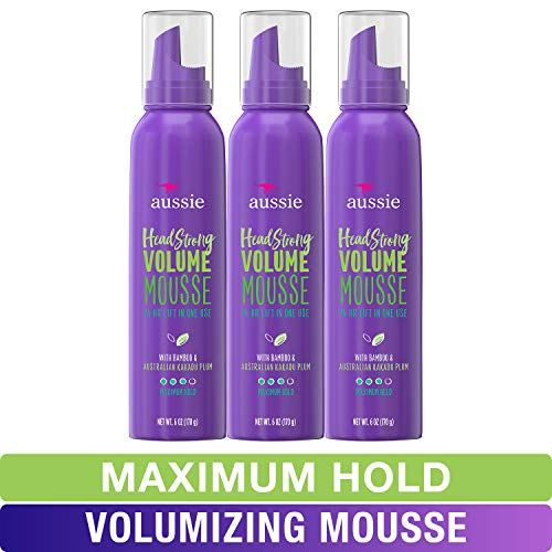 Aussie Mousse, with Bamboo & Kakadu Plum, Headstrong Volume, For Fine Hair, 6 fl oz, Triple ()