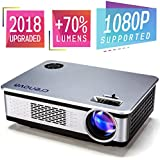 2018 Upgraded Crenova A76 1080P HD Home Video Projector Multimedia Home Theater Movie Projector with 180 Display +70% Brightness Compatible with Amazon Fire TV Stick, HDMI, VGA, USB, AV, SD