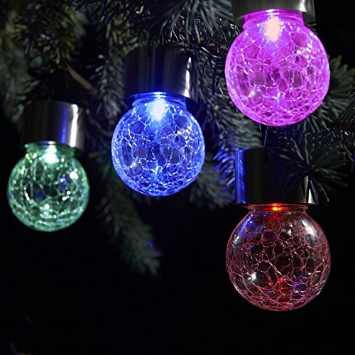 Set of 12 Color Changing & White LED Crackle Glass Hanging Lights by SOLAscape