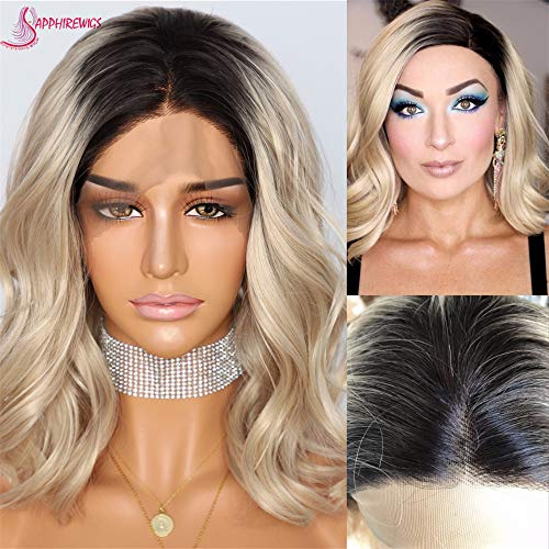 Sapphirewigs Short Black Roots Ombre White Blonde Color Water Wave Women Blogger Internet Celebirty Daily Makeup Synthetic Lace Front Wedding Party Wig