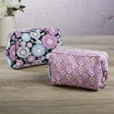 Fit & Fresh Cosmetic Case Set of 2, Navy Flower Scramble & Raspberry Stamp Ring