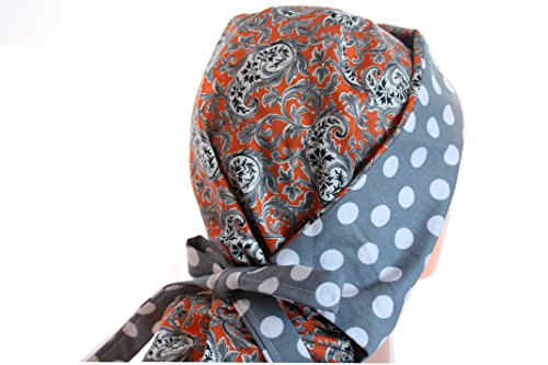 Gray Scrub Cap - Scrub Hat Chemo Cap Ponytail MANY COLORS Available (orange grey paisley)