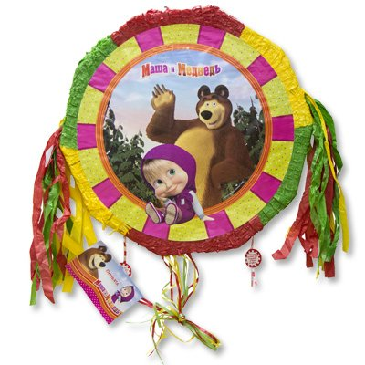RusToyShop 18 inch Pinatas Masha and The Bear with Ribbons Party Table Party Treats Supplies Favors Birthday