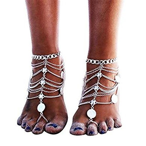 Plated Silver Seashell - F-U ONLY 1 Pcs Boho Vintage Silver Plated Coin Blessing Symbol Tassel Anklets Foot Jewelry for Women