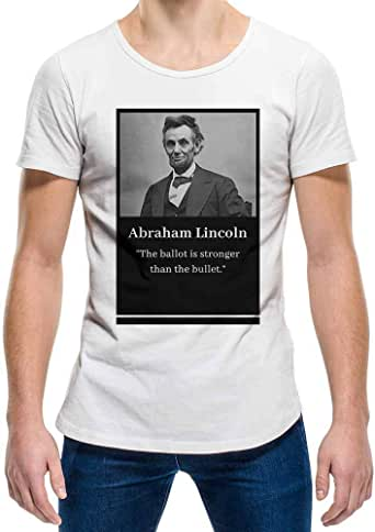 Abraham Lincoln White Round Neck T-Shirt For Unisex