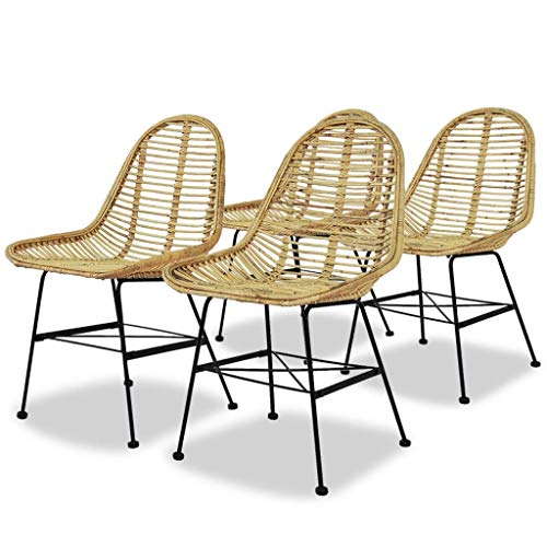 Dining Chairs Set Natural Rattan Indoor&Outdoor Dining Chairs19.3