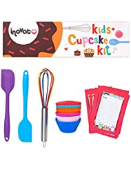 Kids Cupcake Kit / 15 Pieces / Colorful Gift Box / Perfect Kids Baking Set / Quality Whisk, Spatulas and Cupcake Cups / Bonus Shopping Lists and Coupon