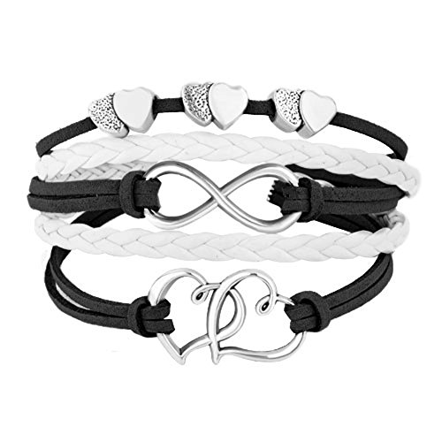 JewelryHouse Sideways Infinity Open Hearts In Hearts Leather Rope Handmade Bracelet (Black White)