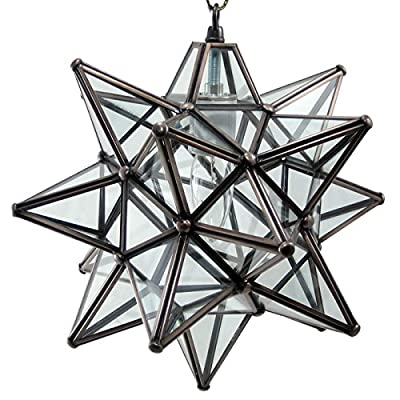 Moravian Star Pendant Light, Clear Glass, Bronze Frame, 12""