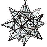 Moravian Star Pendant Light, Clear Glass, Bronze Frame, 12''
