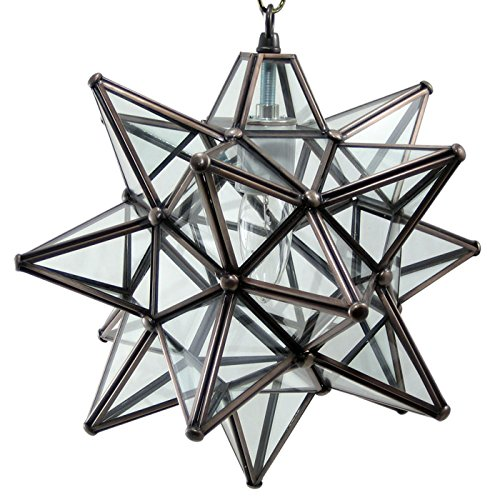 Moravian Star Pendant Light, Clear Glass, Bronze Frame, 12'' by DuDa Home Decor