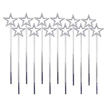 Pink or Silver 12 x Silver Plastic Princess Fairy Magic Wand