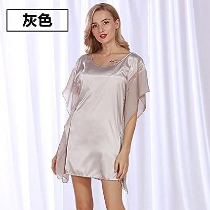 TXD Nightdress Vestido de Pijama de Encaje Se?oras Corto Manga Larga polivin¨ªlico