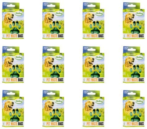 BioBag Dog / Pet Waste Bags on a Roll 45 Bags Each Box (Case of 12) Total 540 Bags by BioBag