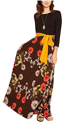 Jaycargogo Floral Printemps Femmes Imprimé Haut Manches Longues Robe Maxi Soirée Taille Robe Café