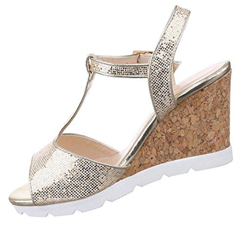 Damen Schuhe Sandaletten Keilabsatz Wedges Pumps Silber 40 gHxrcO