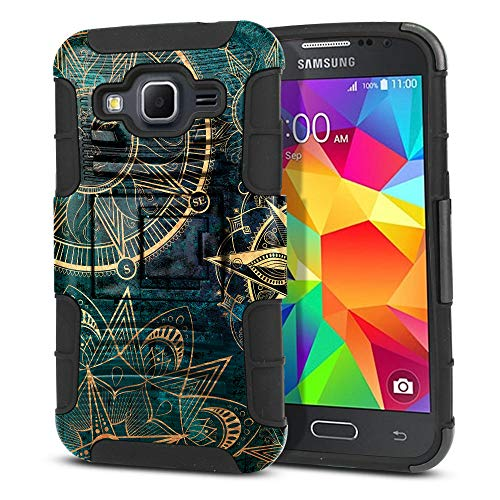 FINCIBO Case Compatible with Samsung Galaxy Core Prime G360 Prevail LTE, Dual Layer Hybrid Armor Protector Case Cover Stand Soft TPU for Galaxy Core Prime G360 - Teal Bohemian Flowers Compass