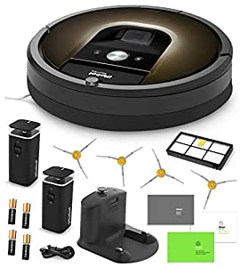 iRobot Roomba 980 Vacuum Cleaning Robot + 2 Dual Mode Virtual Wall Barriers (With Batteries) + 4 Extra Side Brushes + Extra High Efficiency Filter + More
