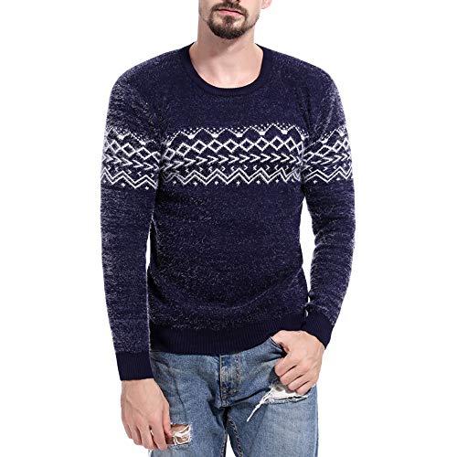 Pullover Sweater BOOMJIU Men's Casual Printed Top Long Sleeve Blouse