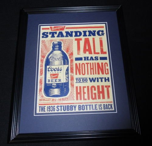 2015-coors-beer-stubby-bottle-is-back-11x14-framed-original-advertisement-b