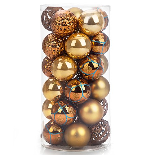 iPEGTOP Shatterproof Christmas Ball Ornaments - 30ct 60mm/2.4 Gold Shiny Matte Glitter and Pierced Christmas Tree Balls Baubles for Festival Party Decorations