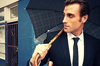 Shedrain Umbrellas Ombrelli Italian Stick Umbrella, Black Foulard, One Size 4